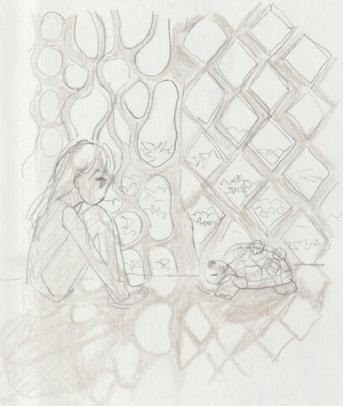 宝石亀と女の子